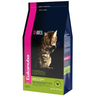 Корм для вывода шерсти из желудка с домашней птицей для кошек Eukanuba Cat Hairball 2 кг
